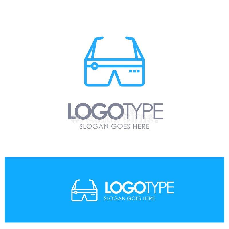 Computer, Gegevensverwerking, Digitaal, Glazen, Blauw het overzichtsembleem van Google met plaats voor tagline vector illustratie
