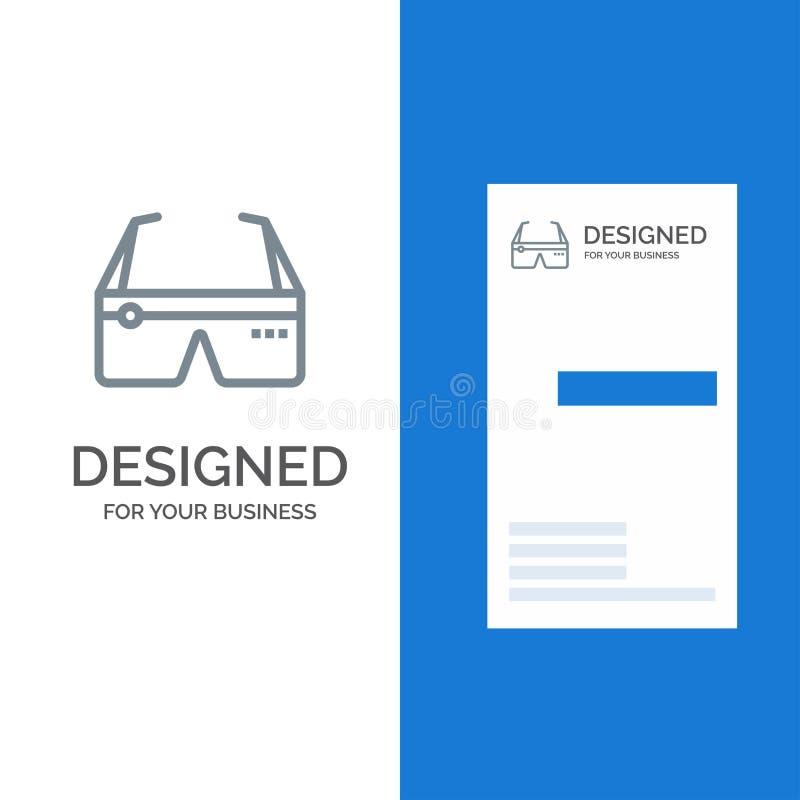 Computer, Gegevensverwerking, Digitaal, Glazen, Google Grey Logo Design en Visitekaartjemalplaatje stock illustratie