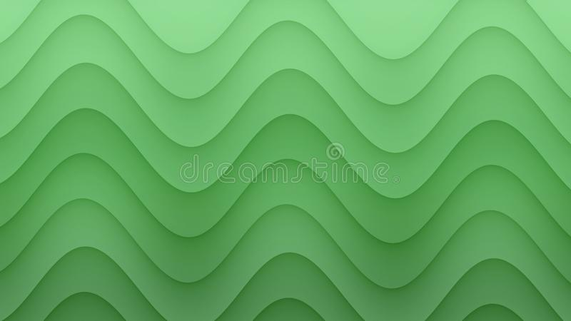 Smooth rolling curves abstract background illustration in gradient shades of fresh green stock illustration