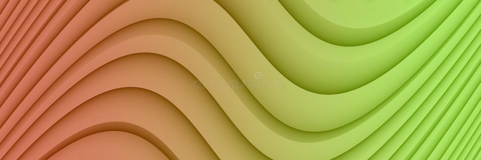 Colorful bright coral and lime green abstract background illustration with soft curves and lines royalty free illustration