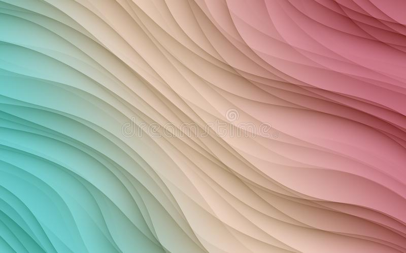 Colorful blue ivory pink diagonal flowing wavy lines abstract wallpaper background illustration. Computer generated abstract fractal background illustration vector illustration