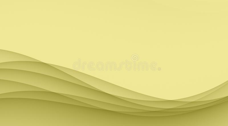 Faded mustard yellow smooth sloping waves and curves abstract wallpaper background illustration vector illustration