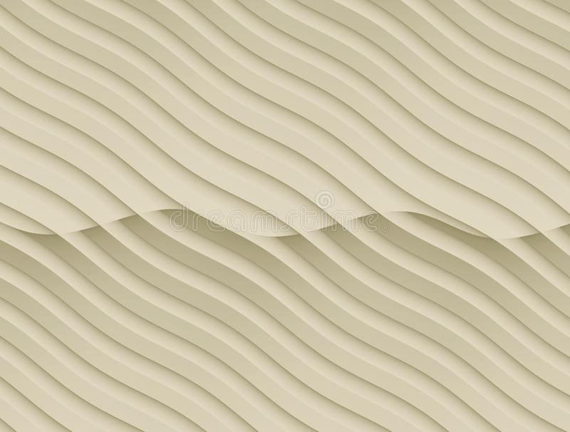Neutral ivory tan beige flowing curves abstract wallpaper background illustration stock illustration