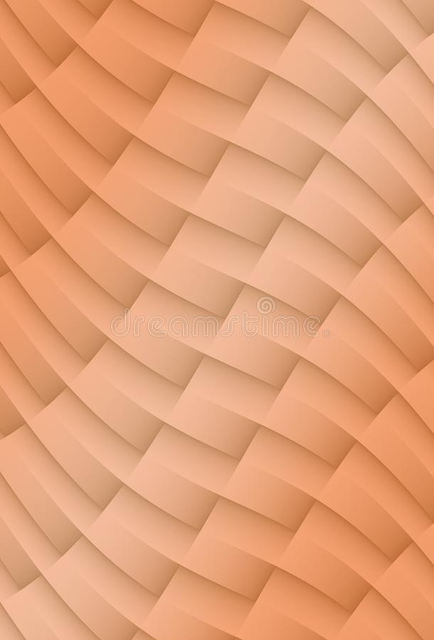 Coral peach colored crisp diagonal grid of 3d contoured bars and curves abstract fractal background illustration stock illustration