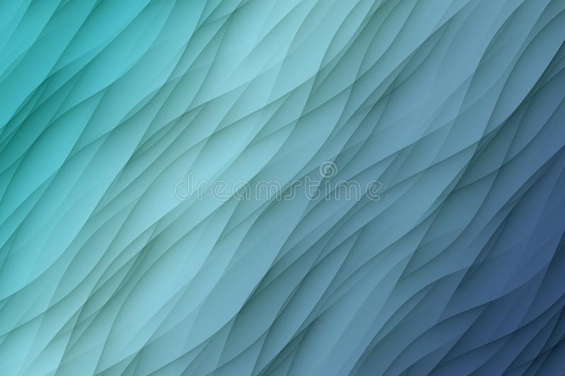Shades of blue curves waves abstract wallpaper background illustration. Computer generated abstract wallpaper background illustration featuring a diagonal royalty free illustration