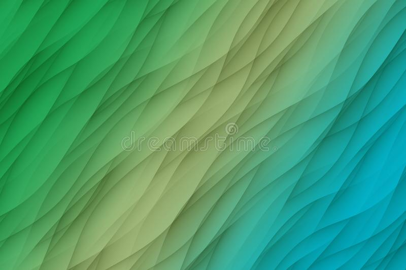Fresh green ivory blue curves waves abstract wallpaper background illustration. Computer generated abstract wallpaper background illustration featuring a vector illustration