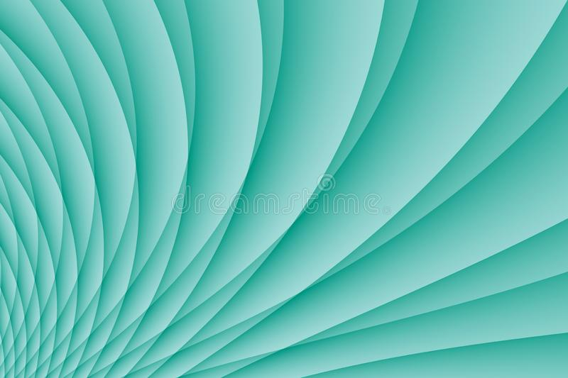 Bright blue spinning pleated curves abstract wallpaper background illustration stock illustration