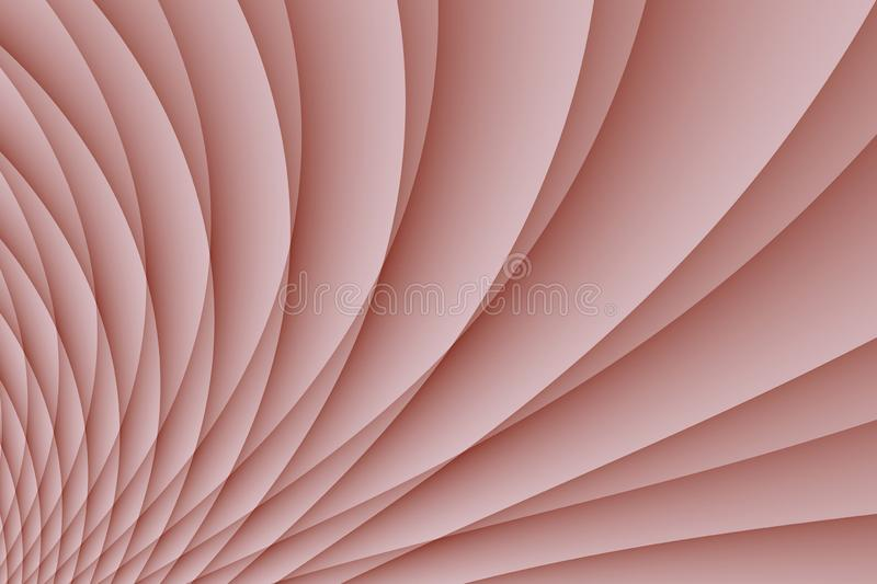 Dusty rose pink spinning pleated curves abstract wallpaper background illustration stock illustration