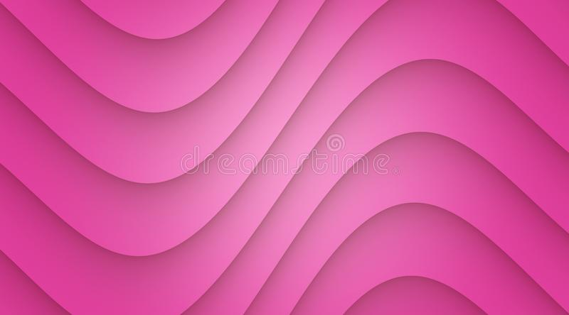 Vivid bright pink smooth symmetric curves abstract wallpaper background illustration. Computer generated abstract wallpaper background illustration featuring a stock illustration