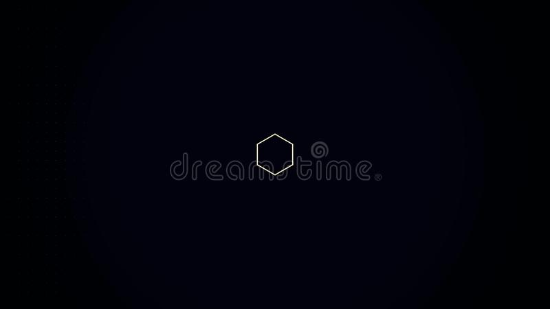 A computer generated animation of an abstract background with a pulsing, fluctuating, geometric design. Appearing and. Disappearing Psychedelic hexagon. A sci stock illustration
