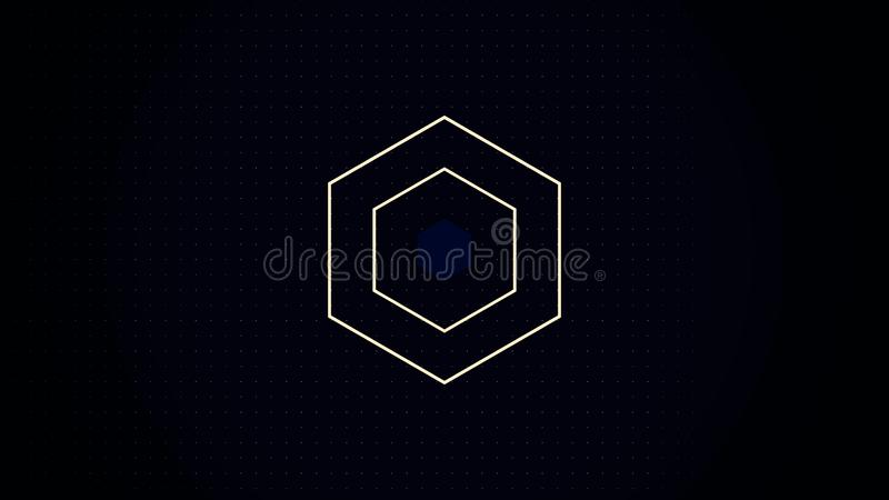 A computer generated animation of an abstract background with a pulsing, fluctuating, geometric design. Appearing and. Disappearing Psychedelic hexagon. A sci royalty free illustration