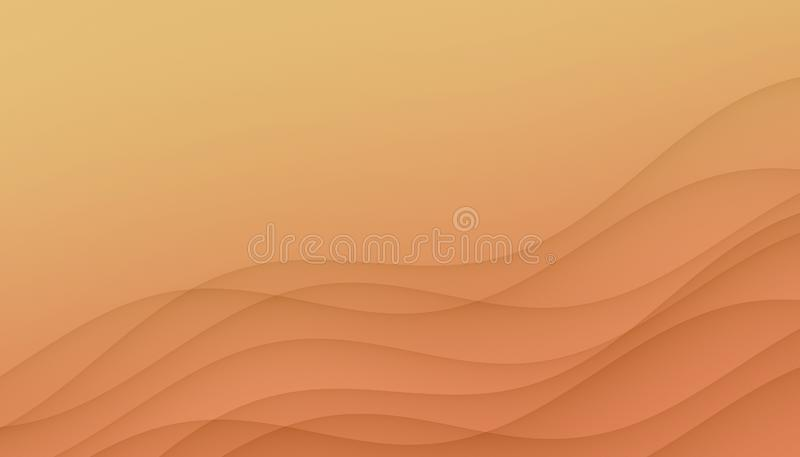 Light orange yellow curves abstract background illustration with copy space. royalty free illustration
