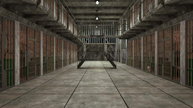Computer generated background. Several gloomy prison blocks on two floors. 3d rendering. Computer generated backdrop. Several empty gloomy prison blocks on two royalty free stock photos