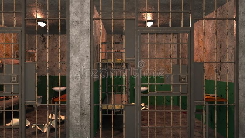 Computer generated background. Several gloomy prison blocks on two floors. 3d rendering. Computer generated backdrop. Several empty gloomy prison blocks on two royalty free stock photography
