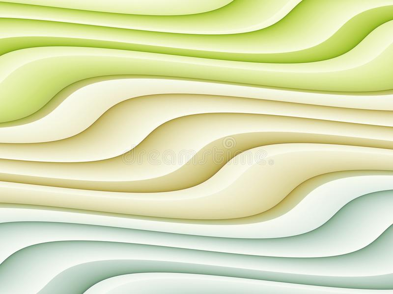 Colorful Abstract Curves Background Illustration Green Ivory Blue vector illustration