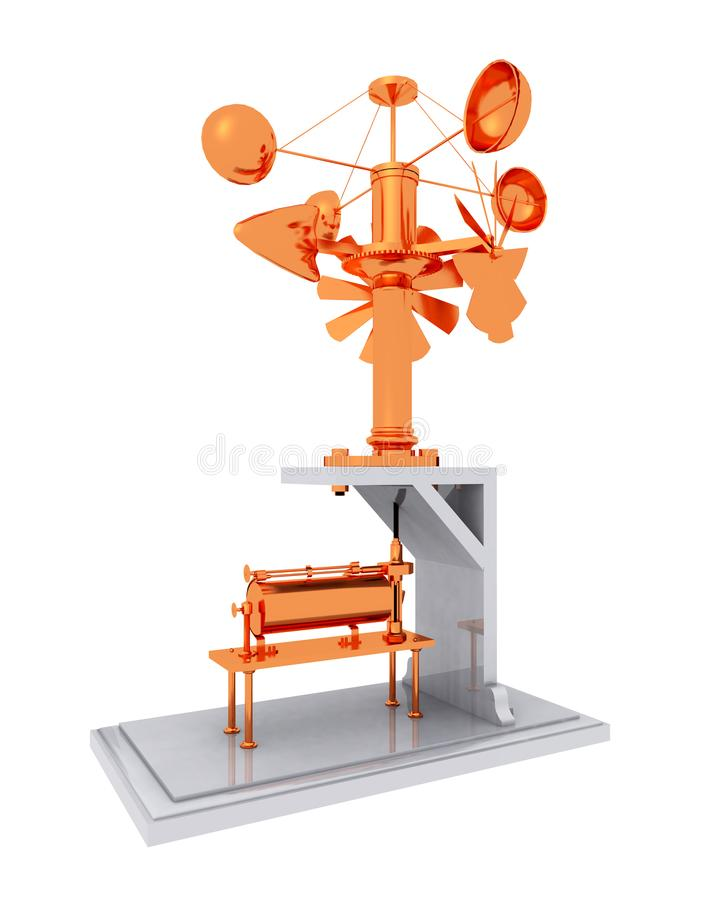Anemometer isolated on white background. Computer generated 3D illustration with an anemometer isolated on white background vector illustration