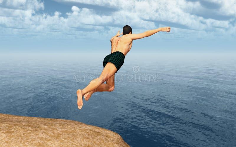 Cliff diver. Computer generated 3D illustration with a cliff diver vector illustration