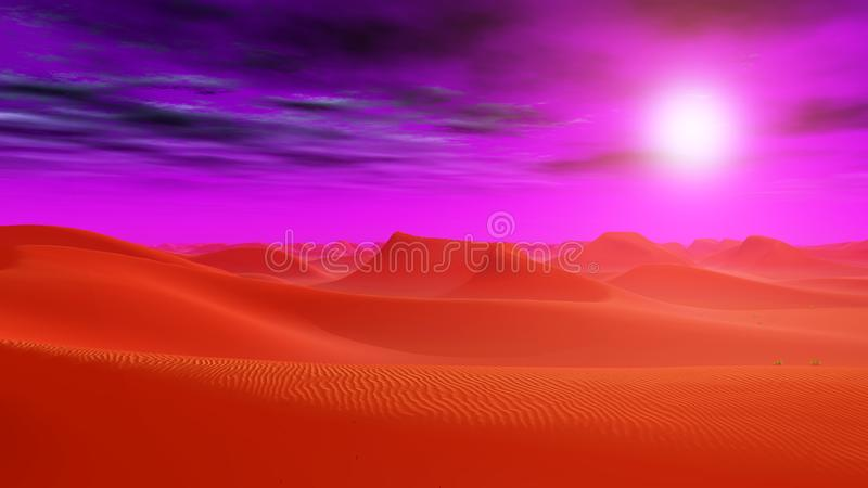 Desert landscape in a distant world stock illustration