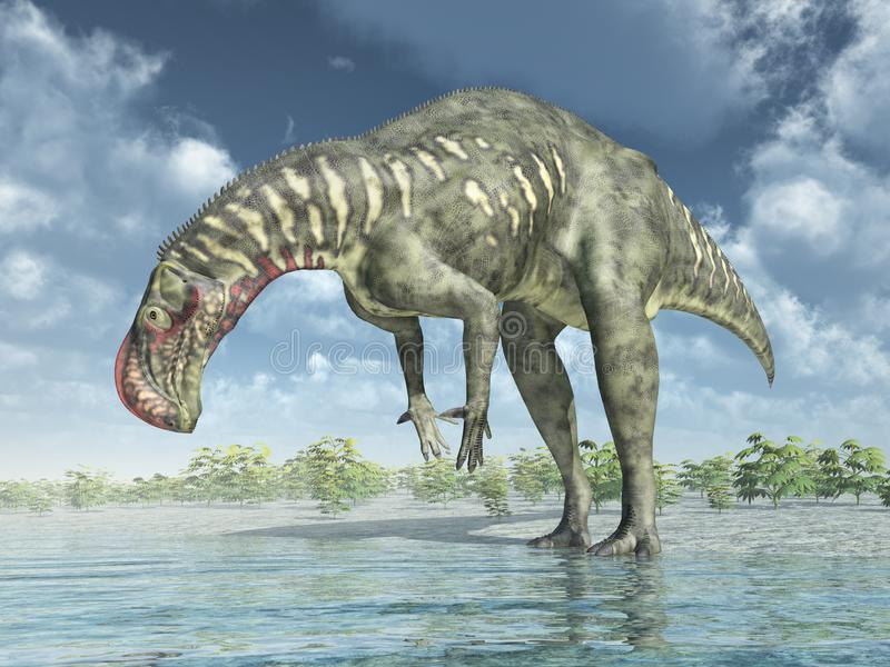 Dinosaur Altirhinus in a water landscape royalty free illustration