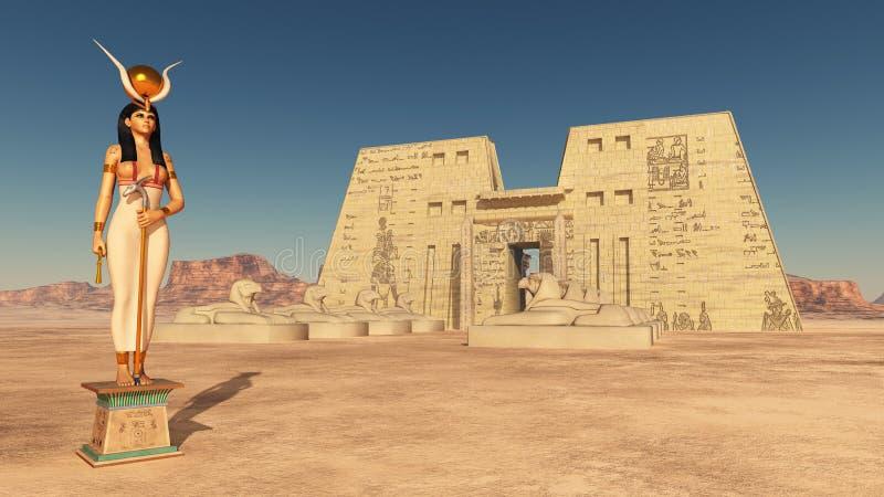 Goddess Hathor and temple of Edfu. Computer generated 3D illustration with goddess Hathor and temple of Edfu in Egypt vector illustration