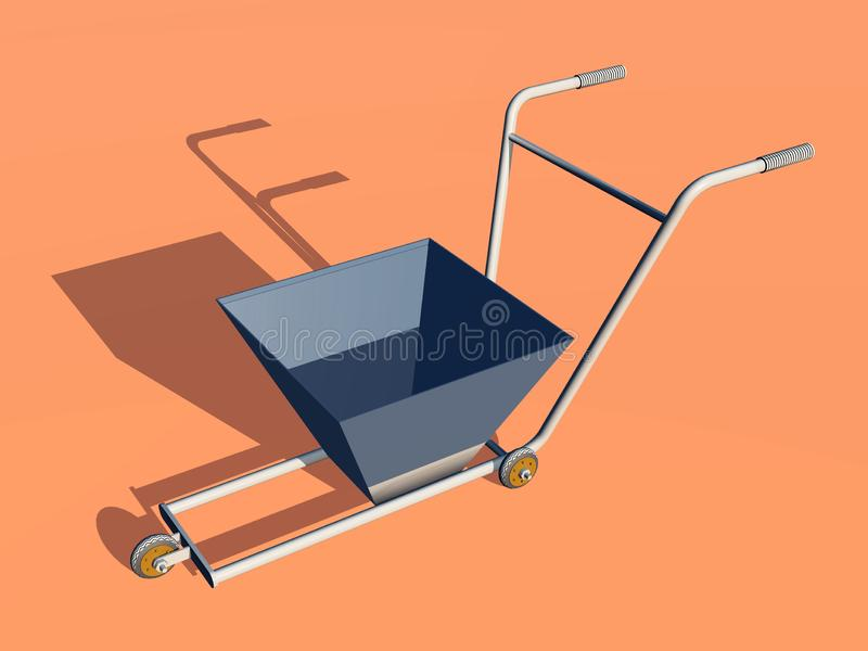 Lane marker cart against an orange background. Computer generated 3D illustration with a lane marker cart against an orange background vector illustration