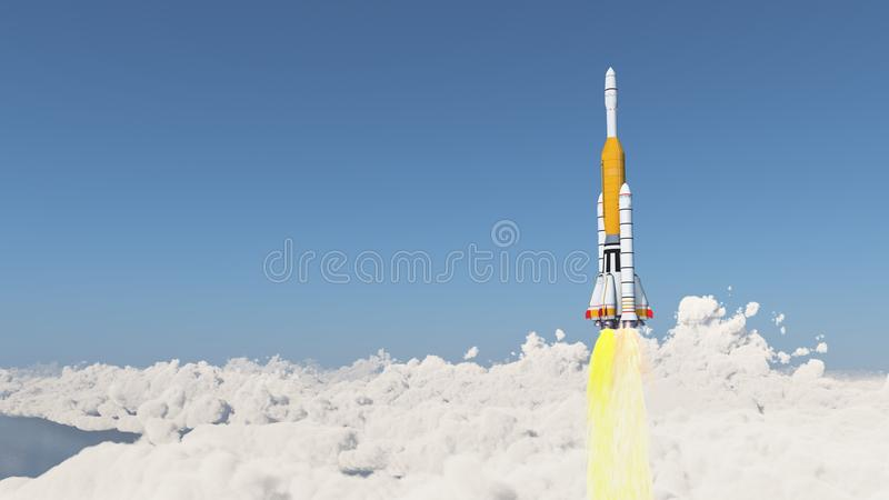 Launch vehicle over the clouds. Computer generated 3D illustration with a launch vehicle over the clouds vector illustration