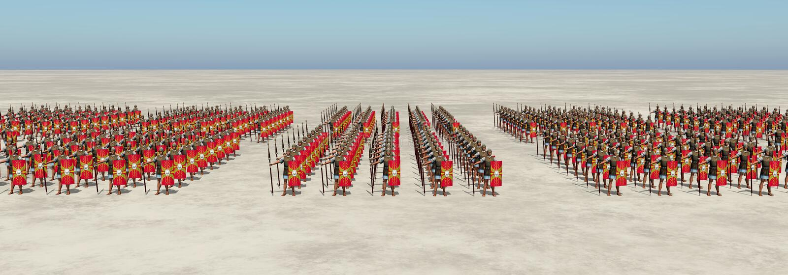 Roman army. Computer generated 3D illustration with Roman legionaries of ancient Rome vector illustration