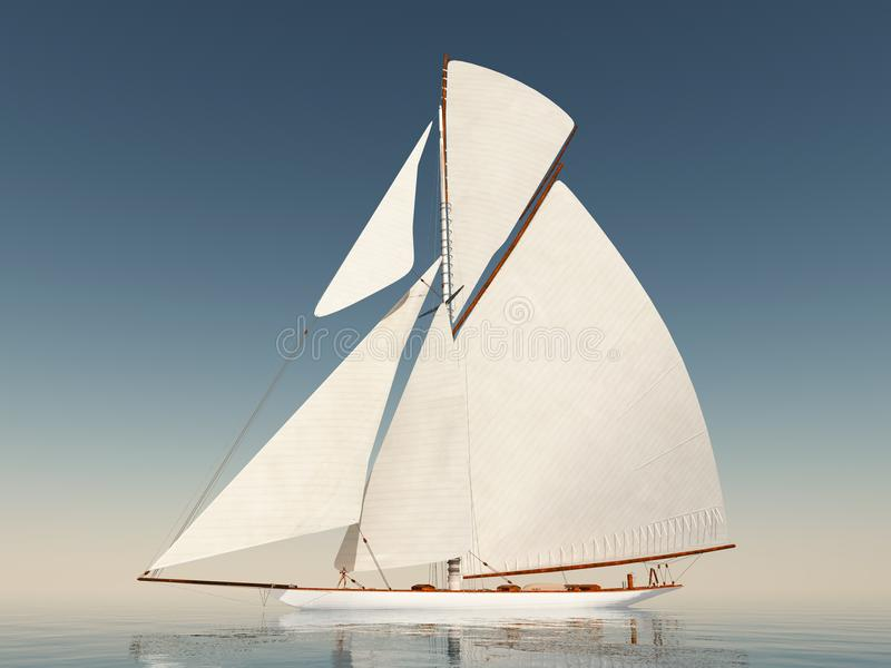 Sailing yacht in the open sea vector illustration