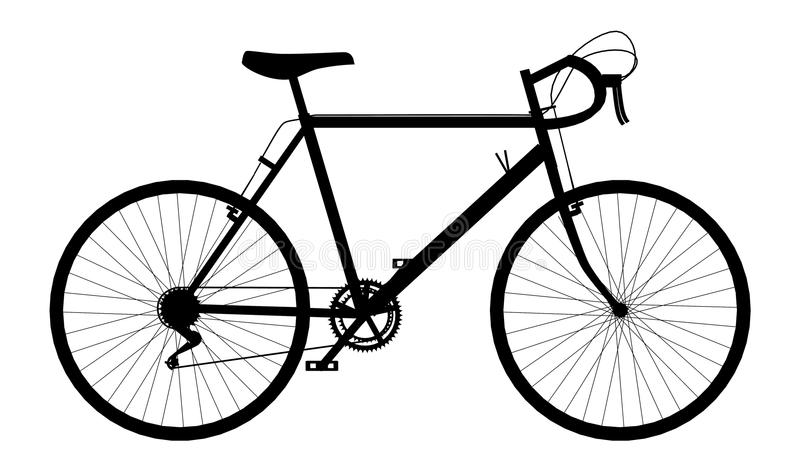 Silhouette of a racing bicycle stock illustration