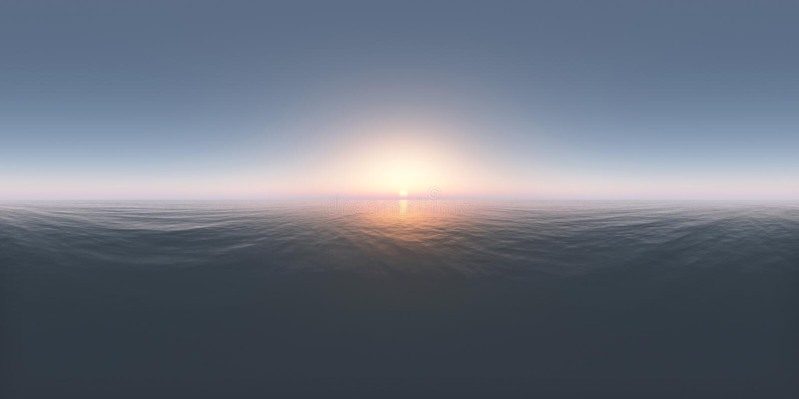 Spherical 360 degrees seamless panorama with a sunset in the open sea. Computer generated 3D illustration with a spherical 360 degrees seamless panorama of a vector illustration