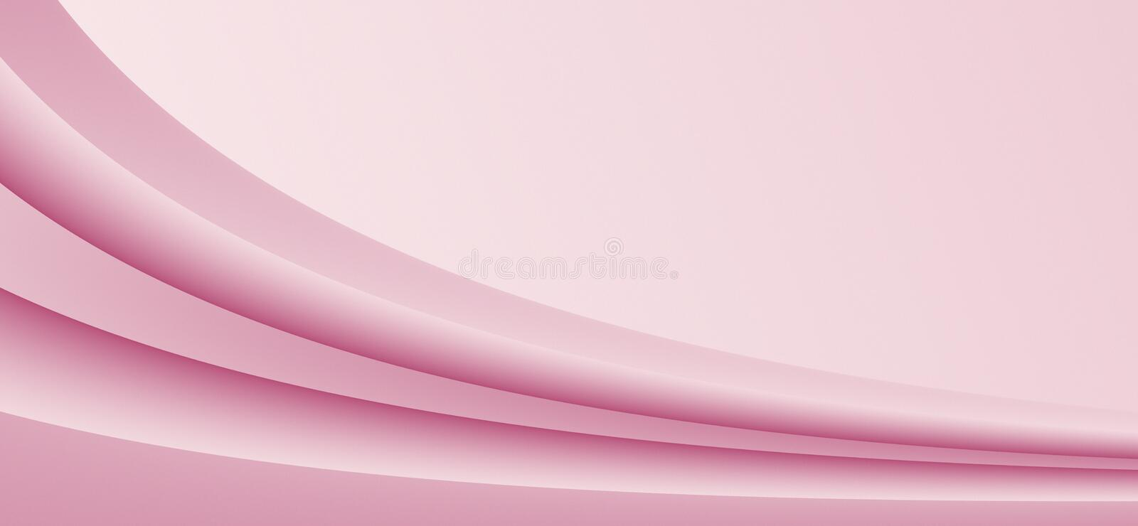 Shades of soft pink diagonal sloping curves abstract paper background with copy space vector illustration