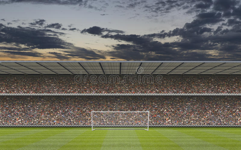 Computer generated football stadium. Stand with crowd, goal posts and football pitch stock photo