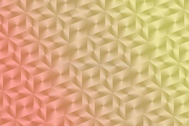 Luminous coral tan yellow glossy stacked square cubes geometric abstract wallpaper background illustration vector illustration
