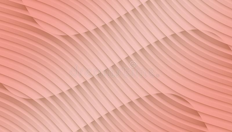 Soft coral pink overlapping contoured 3d lines and curves geometric abstract wallpaper background illustration royalty free illustration