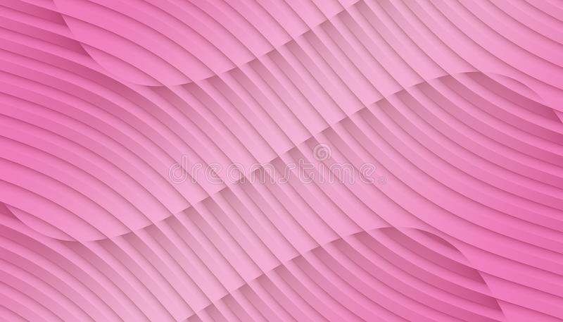 Vivid bright pink overlapping contoured 3d lines and curves geometric abstract wallpaper background illustration royalty free illustration