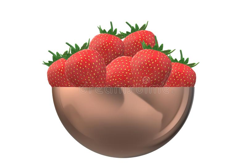 A brass bowl of red strawberries stock images