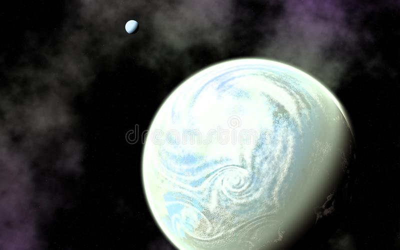 Earth Like Planet and Its Moon royalty free stock images