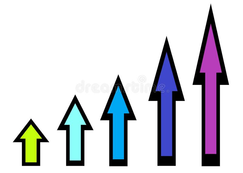 Arrows with bold black outlines and multiple colors of different sizes pointing upwards stock photo