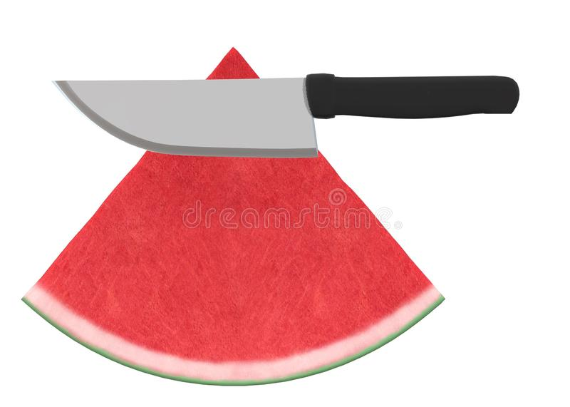 A black handle kitchen knife slicing through two slices of water melon stock photo
