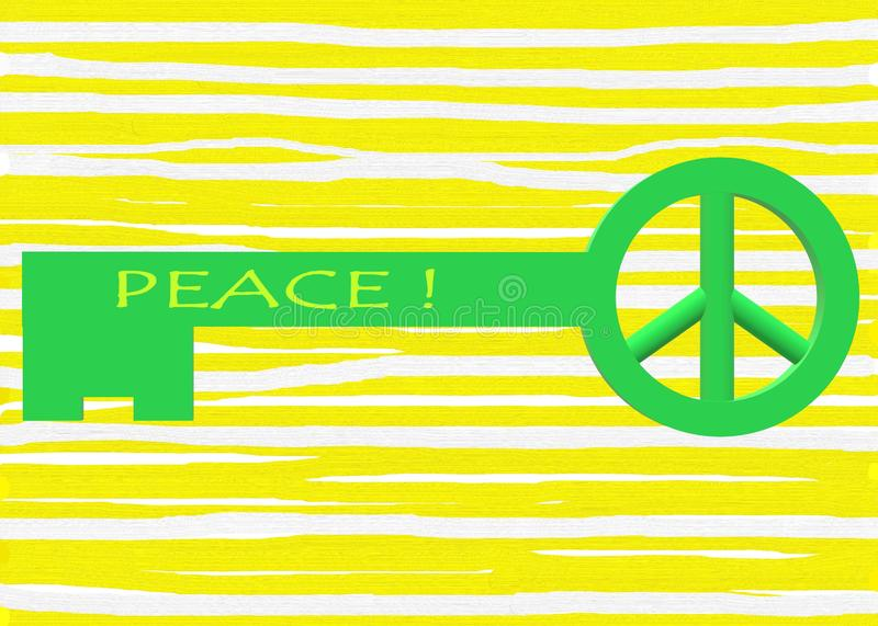A bright green colored key with a peace symbol ring for key chain hooking against a light yellow striped backdrop royalty free stock photography