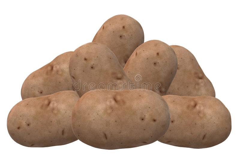 A bunch of raw unpeeled brown potatoes stock photos