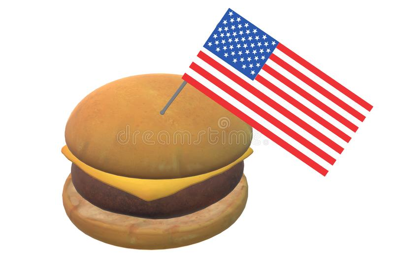 A cheese burger with a small american flag stock photography