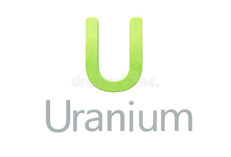 Uranium chemical symbol as in the periodic table vector illustration