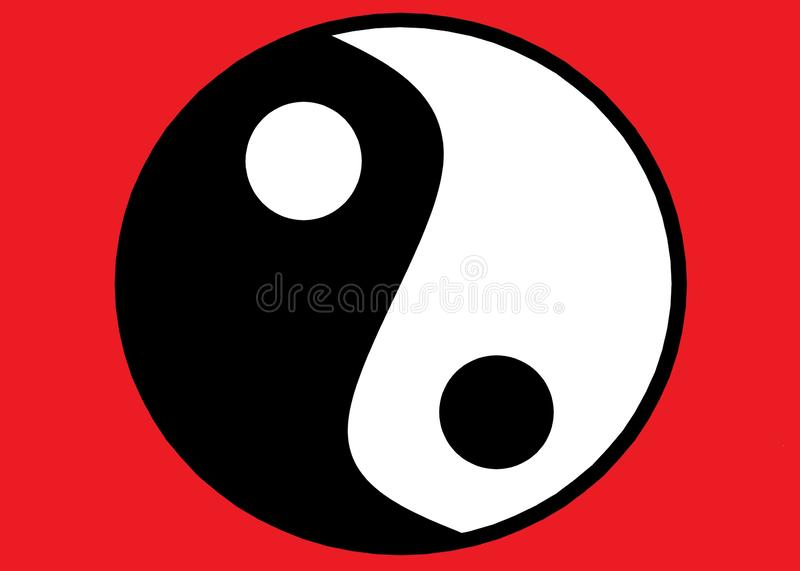 The chinese Taoism symbol of Ying Yang against a red backdrop stock image