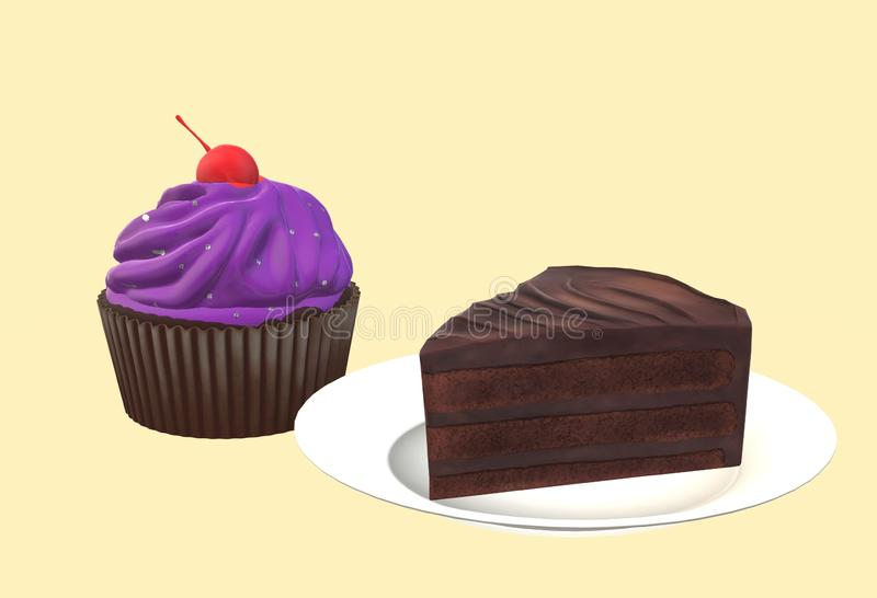 A chocolate cupcake and a slice of chocolate cream cake royalty free stock photos