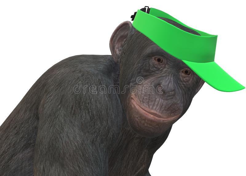 A closeup illustration of a primate monkey wearing a bright green gold visor against a white backdrop stock photo