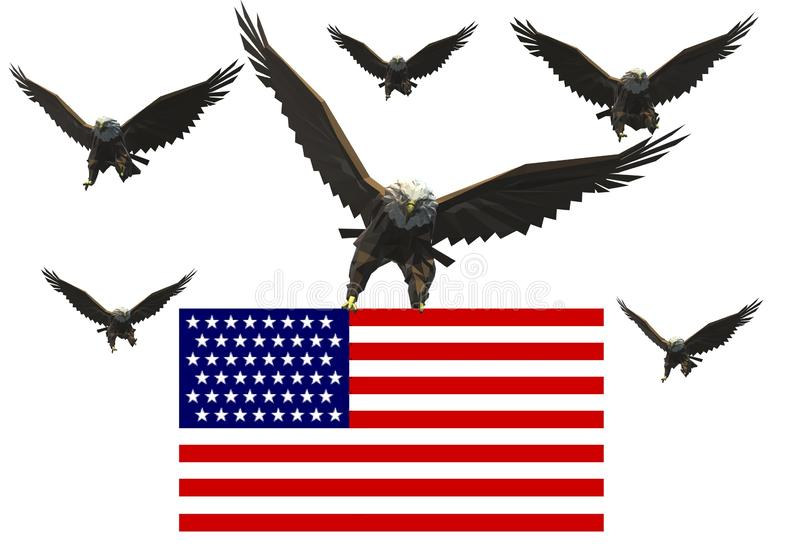 A flock of American bald eagles. The leading one is holding the American flag. A computer generated illustration image of a flock of American bald eagles stock illustration