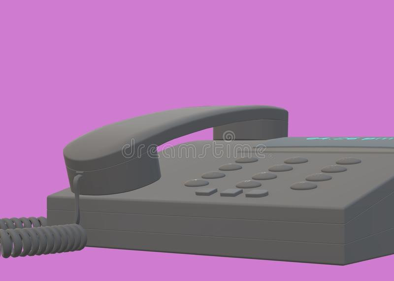 A front side partial view of a modern office table desk telephone stock images