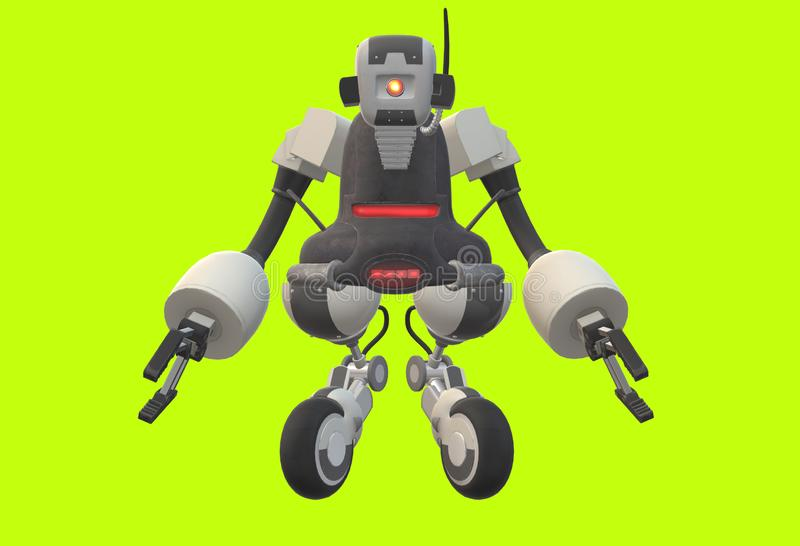 A futuristic robot with mechanical arms and wheeled legs royalty free illustration