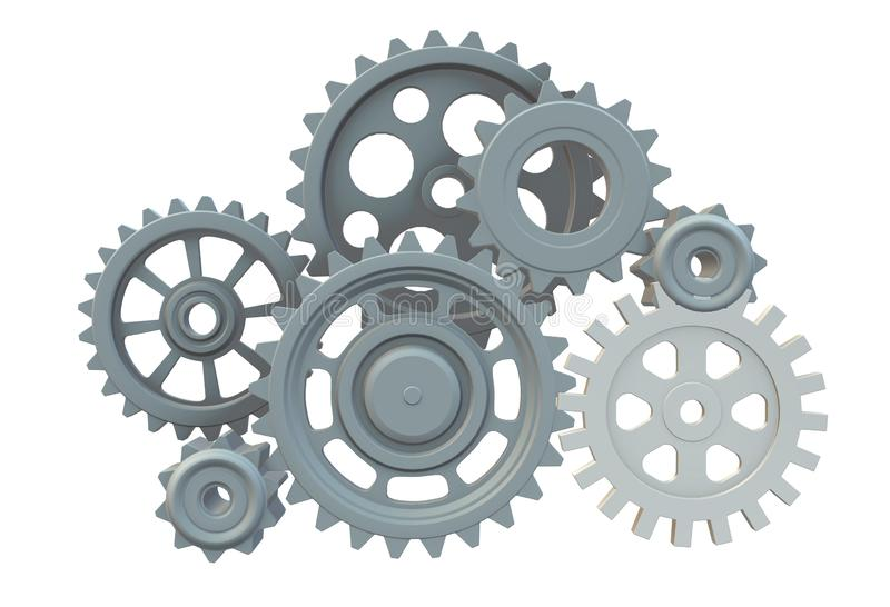A gear train mesh of different sizes and gear ratio. A computer generated illustration image of a gear train mesh of different sizes and gear ratio against a royalty free illustration